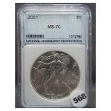 2001 Silver Eagle. NNC MS70.