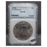 2002 Silver Eagle. NNC MS69.