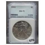2003 Silver Eagle. NNC MS70.