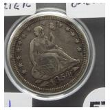 1854 Seated quarter dollar with great detail.