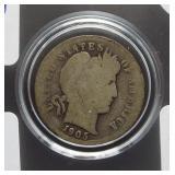 1905-O Barber dime with rare micro O mint mark.