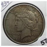 1934 Peace Silver Dollar.