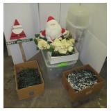 Christmas items including lights, tub with lid,