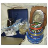 (3) Tins, household scissors, decorative planter