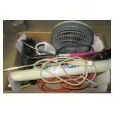 Rotisserie, small fan, extension cord, wind