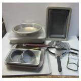 Bakeware including cookie pans, cake pans, pie