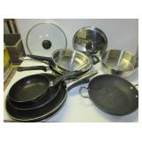 (7) Various sized frying pans including Ultrex