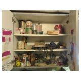 Content of cupboard including various paint,