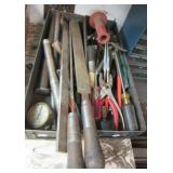 Large group of hand tools including files,