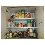 Contents of cupboard including used garage items,