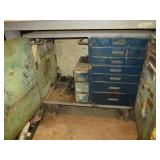 Heavy metal storage cart on castors with 9 drawer