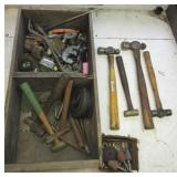 Wood crate filled with (6) machinist hammers,