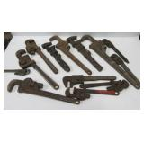 (11) Pipe & monkey wrenches including Ridgid,