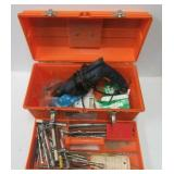 """Contico 19"""" plastic tool box filled with drill"""
