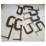 (8) Various size c-clamps. Brands include