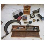 Machinist items including Lufkin micrometer