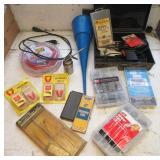 Zip ties, various organized hardware, grass gator