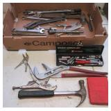 Large group of hand tools including wrenches,