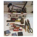Large group of hand tools including tape
