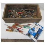 Large group of screwdrivers including