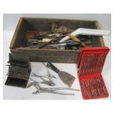 Garage brackets, hand tools, Allied drill bit