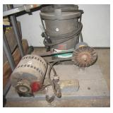 Grinder with Electric motor & Sears sand blaster.