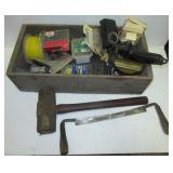Glue gun, sledge hammer, draw shave, screws,
