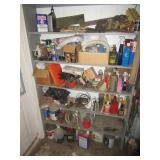 Contents of shelving including various tractor