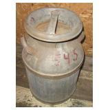 """Vintage Metal milk can. Measures 20"""" Tall."""