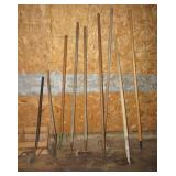 (8) Yard tools including hoes, planters, metal