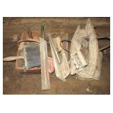 Various cement trowels and floats.