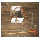 Ladder jacks, small garden tools, tree trimmer,