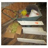 Garden cart with rope, fishing planers, minnow