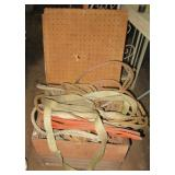 Wood slat crate filled with straps, barn robe,