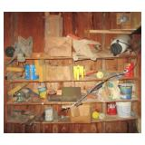 Contents of shelf including sump pump, various