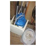 Garden hoses, tarps, plastic outdoor stand,