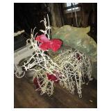 (2) Lighted reindeer & sleigh & large Christmas