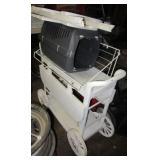 Plastic tea cart, cat carrier, & plastic folding