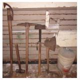 Pick Axe, (2) sledge hammers, large axe, log