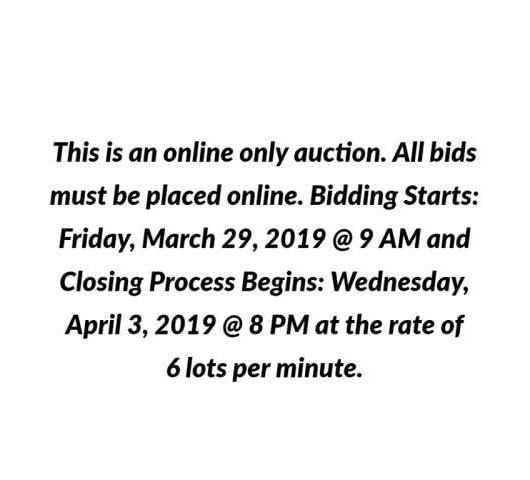 April Online Estates Consignment Auction April 3 Wed