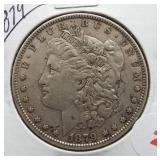 1879 Morgan Silver Dollar.
