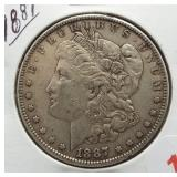 1887 Morgan Silver Dollar.