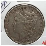 1890 Morgan Silver Dollar.