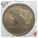 1924 Peace Silver Dollar.