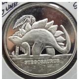Stegosaurus One Ounce .999 Fine Silver Round.