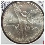 1983 Mexico One Onza One Ounce .999 Pure Silver.