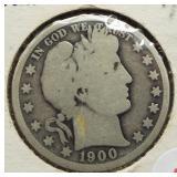 1900-O Barber Silver Half Dollar.