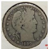 1900-S Barber Silver Half Dollar.