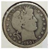 1901 Barber Silver Half Dollar.