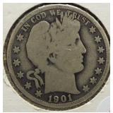 1901-O Barber Silver Half Dollar.